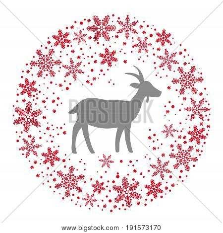 Winter Christmas Round Wreath with Snowflakes and Goat. Red Grey and White Color Vector Illustration
