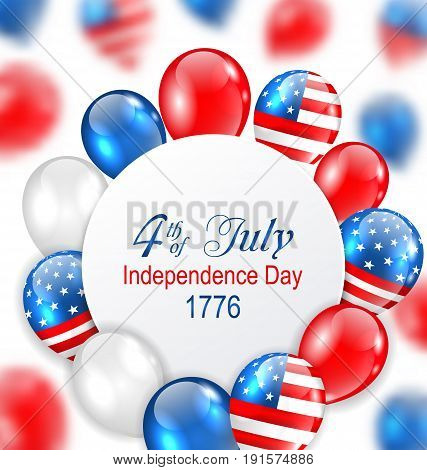Celebration Card for Independence Day of USA with Balloons in American National Colors - Illustration Vector