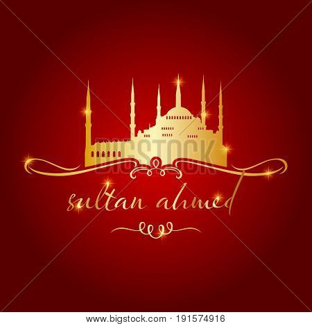 Istanbul sultan ahmed mosque icon and shape vector illustration