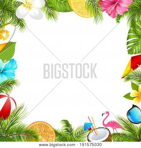 Summer Poster for Fun Beach Party, Hibiscus, Frangipani Flowers, Sunglasses, Palm Leaves, Coconut Cocktail, Orange, Flamingo - Illustration Vector