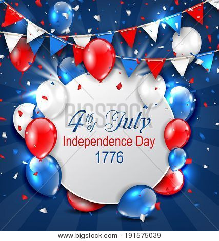 Greeting Card for American Independence Day, 4th of July, Colorful Bunting, Balloons and Confetti - Illustration Vector