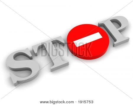 Stop. Very beautiful three-dimensional illustration figure. 3d. poster