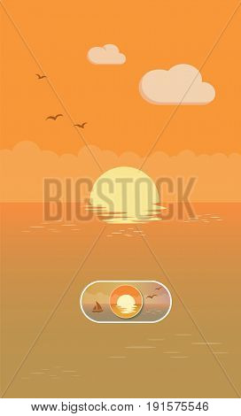 Sunset Landscape Illustration On Off Toggle Switch Button