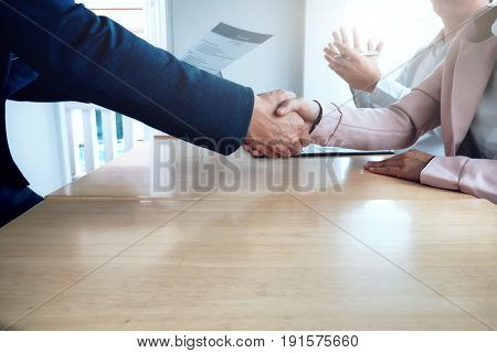 Business Situation, Job Interview Concept. Business People Handshake.