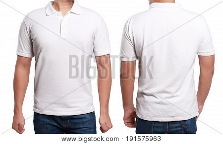 White polo t-shirt mock up front and back view isolated. Male model wear plain white shirt mockup. Polo shirt design template. Blank tees for print