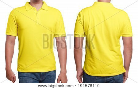Yellow polo t-shirt mock up front and back view isolated. Male model wear plain yellow shirt mockup. Polo shirt design template. Blank tees for print