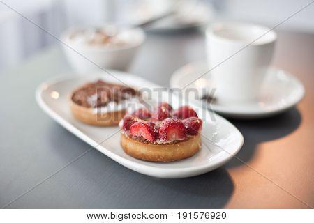 Strawberry Flan And Chocolate Flan