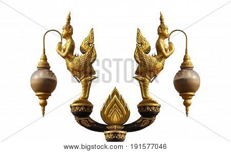 Symmetry pattern orientation of Golden art angel, Lantern hanger statue isolated in white background, Traditional ancient unique style lighting lamp of Thai