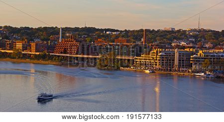 Potomac Waterfront panorama at sunset in Washington DC USA. Georgetown Park area near Potomac River in autumn.