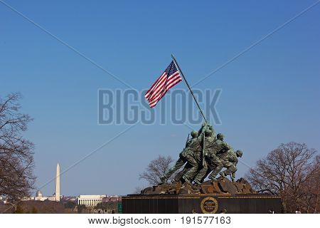 WASHINGTON DC USA - MARCH 21 2015: Marine Corps War Memorial at sunset on March 21 2015 in Washington DC. The Iwo Jima Memorial located near Arlington Cemetery.
