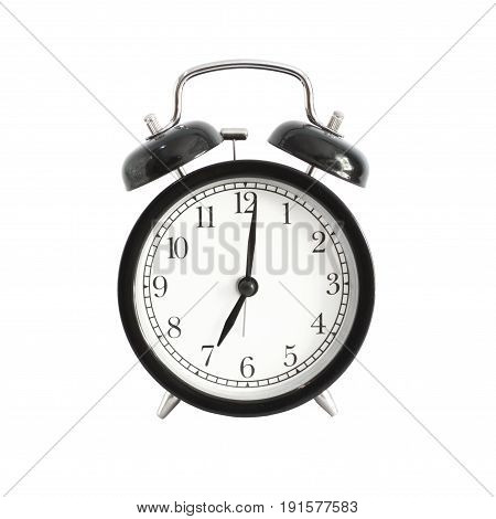 Alarm clock isolated. Alarm clock setting at 7 AM or PM. Abstract time.