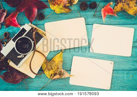 Retro camera and empty old instant paper photo album on wood table with maple leaves in autumn border design - concept of remembrance and nostalgia in fall season. vintage rustic style