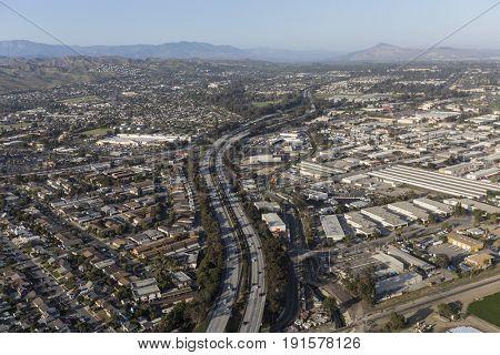 Aerial view of the 101 Freeway in Ventura, California.