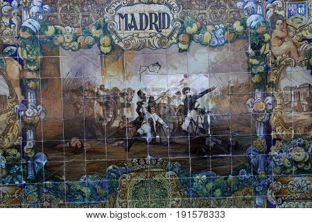 Ceramic Azulejos In Plaza De Espana, Seville, Andalusia, Spain