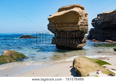 Rock formation and cliffside erosion at the Children's Pool in La Jolla, California.