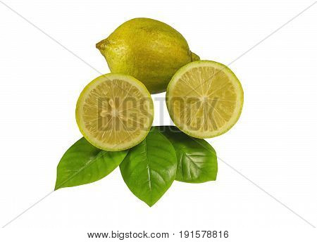Isolated lemon. One whole lemon fruit and a piece isolated on white background with clipping path