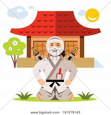 Warrior in white dress with swords sitting on his lap. Isolated on a White Background