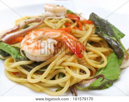 The drunkards cheese Spaghetti sea on a White Background