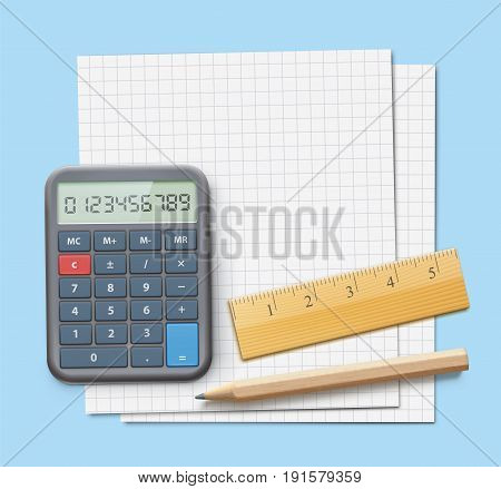 Vector illustration of mathematics concept with graph paper ruler sharpened detailed wooden pencil and electronic calculator