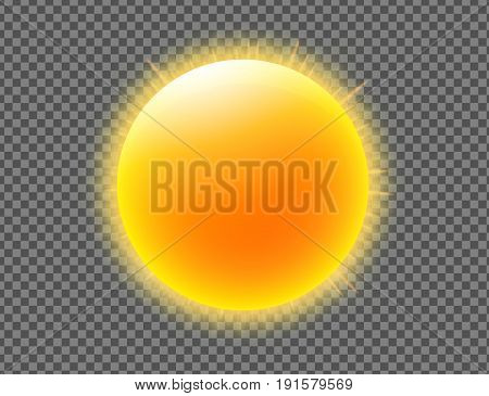 Vector illustration of cool single weather icon with shiny sun isolated on transparent background