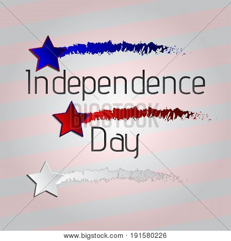Happy 4th of July, American Independence Day striped background a set of three stars. Vector illustration