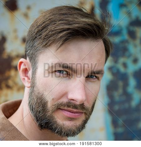 Bearded handsome man looks at the camera