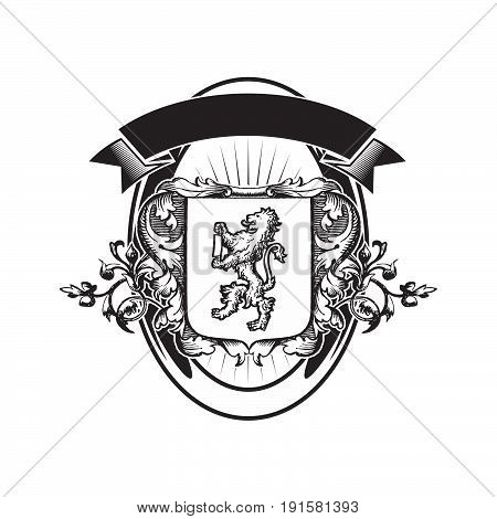 Royal shields, nobility heraldry coat of arms vector set. Shield with majestic animals, illustration of shields heraldry