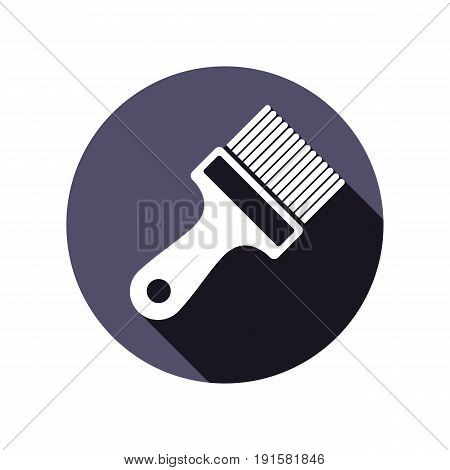 Renovation instrument used in whitewash paint brush. Classic reparation tool. Building theme graphic vector design element.
