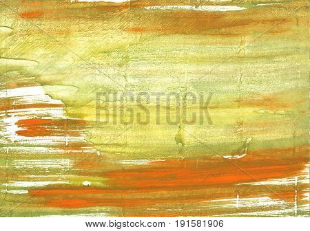 Hand-drawn abstract watercolor. Used colors: Vegas gold Brass University of California Gold Chinese green Straw Satin sheen gold Khaki Ochre Medium spring bud
