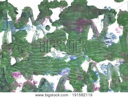 Hand-drawn abstract watercolor background. Used colors: White Axolotl Russian green Oxley Middle Green Feldgrau Fern green Dark sea green Morning blue Granite Gray