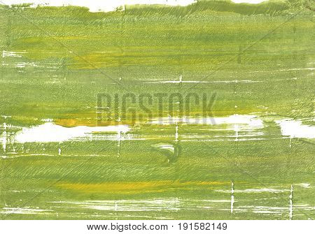 Hand-drawn abstract watercolor background. Used colors: Moss green Middle Green Yellow White Old moss green Citron Android green Brass Medium spring bud Dark khaki