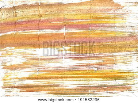 Hand-drawn abstract watercolor background. Used colors: White Gold Middle Yellow Red Earth yellow Mellow apricot Tumbleweed Fawn Lotion Peach-orange Topaz