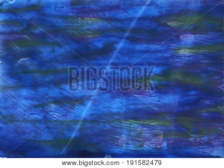 Hand-drawn abstract watercolor background. Used colors: Indigo Cerulean blue Cosmic Cobalt St. Patricks blue Han blue Metallic blue Denim Blue Cyan cobalt blue