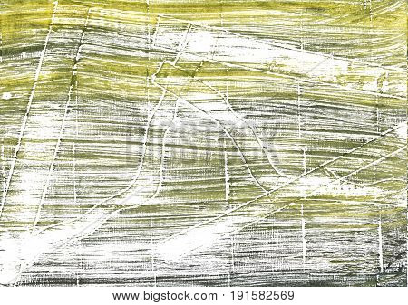 Hand-drawn abstract watercolor background. Used colors: White Moss green Gold Fusion Grullo Baby powder Artichoke Brass Sage Medium spring bud Mustard green