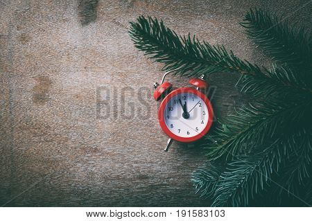 Red Alarm Clock And Pine Branch