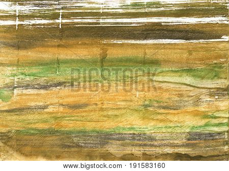 Hand-drawn abstract watercolor background. Used colors: Metallic Sunburst Bronze Aztec Gold Old moss green Vegas gold Dark tan Spanish bistre Brass Sunray