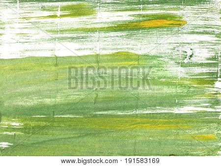 Hand-drawn abstract watercolor background. Used colors: Olivine White Moss green Medium spring bud Asparagus Middle Green Yellow Dollar bill Tea green Baby powder