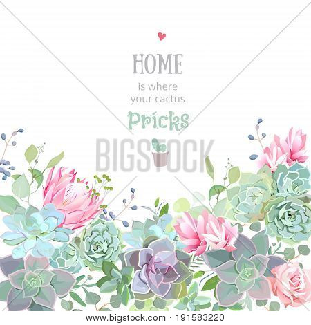 Green colorful succulents vector design card. Echeveria, protea, eucalyptus. Botanical style banner with flower mix. Modern funky cactus blank. All elements are isolated and editable