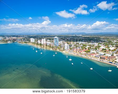 An aerial view of the Gold Coast broadwater the main waterway and boating area on the Gold Coast, Queensland, Australia