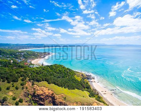 An aerial view of Byron Bay's beaches