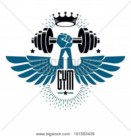 Logotype for heavyweight gym or fitness sport gymnasium winged retro stylized vector emblem or badge With barbell and strong hand fist.