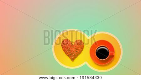 Red Cup Of Coffee And Heart Shape In Cicrle