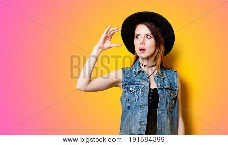 Young Girl Shocked For Something On Yellow