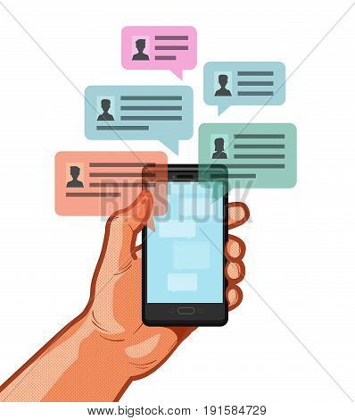 Smartphone, mobile phone in hand. Chatting, chat message, online talking concept. Vector illustration isolated on white background