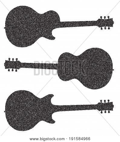 Traditional guitar shape silhouettes in doted isolated over a white background