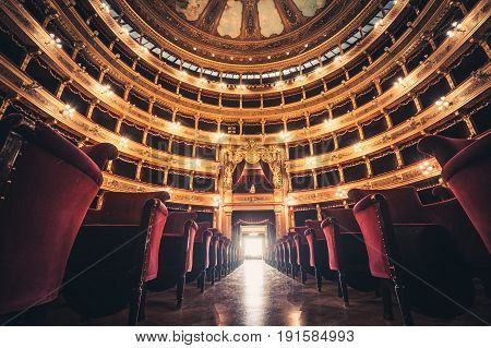 PALERMO, ITALY. December 30, 2016: The Teatro (Theater) Massimo Vittorio Emanuele is an opera house and opera company located on the Piazza Verdi in Palermo, Sicily. Italy. Theater ceiling opera.