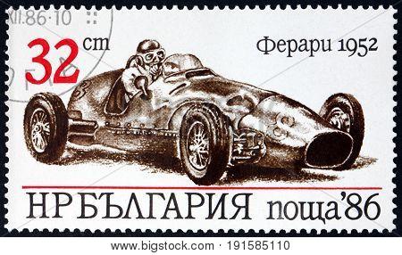 BULGARIA - CIRCA 1986: a stamp printed in Bulgaria shows Ferari 1952 Sport Car circa 1986