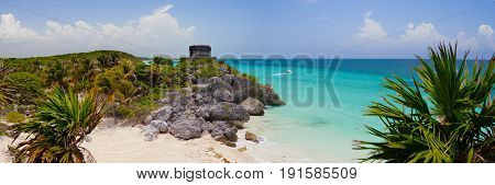 The Tulum ruins in the Riviera Maya south of Cancun Mexico