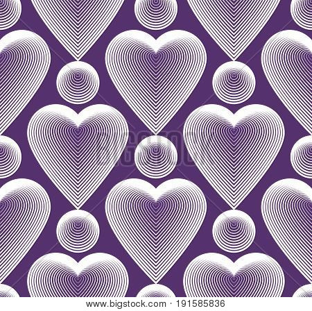 Vector bright ornate pattern with graphic lines symmetric stripy background with romantic love hearts.