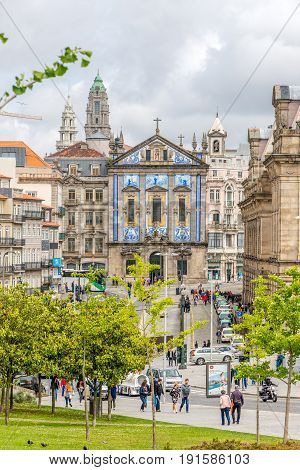 PORTO,PORTUGAL - MAY 13,2017 - In the streets of Porto. Porto is one of the oldest European centers and its historical core was proclaimed a World Heritage Site by UNESCO in 1996.